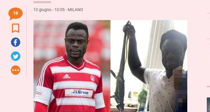 El diario la Gazzeta, de Italia, publicó la foto de Facebook en la que se ve al jugador con la iguana, antes de comérsela.