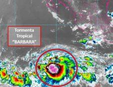 La tormenta tropical Barbara está ubicada frente a las costas de México. (Foto Prensa Libre: conagua)