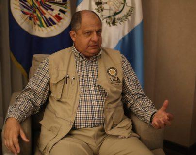 El jefe de la Misión de Observación Electoral de la OEA, Luis Guillermo Solís habló con Prensa Libre sobre el proceso electoral. (Foto Prensa Libre: Óscar Rivas)