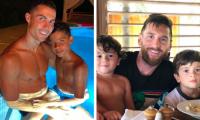 Cristiano Ronaldo y Lionel Messi han demostrado que además de ser buenos futbolistas son buenos padres. (Foto Prensa Libre: Twitter @cristiano y @leomessi)