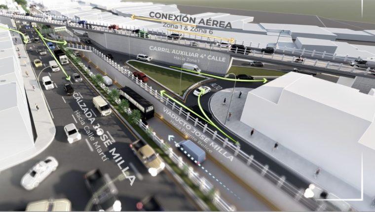 La comuna presentó los planos del viaducto que será construido en la calzada José Milla y Viadurre. (Foto Prensa Libre: Cortesía)