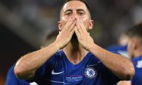 Chelsea's Belgian midfielder Eden Hazard  celebrates after celebrates after scoring a goal during the UEFA Europa League final football match between Chelsea FC and Arsenal FC at the Baku Olympic Stadium in Baku, Azerbaijian, on May 29, 2019. (Photo by OZAN KOSE / AFP)
