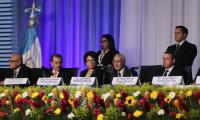Magistrados del TSE durante la conferencia de prensa en la cual dieron los primeros resultados oficiales. (Foto Prensa Libre: Juan Diego González)