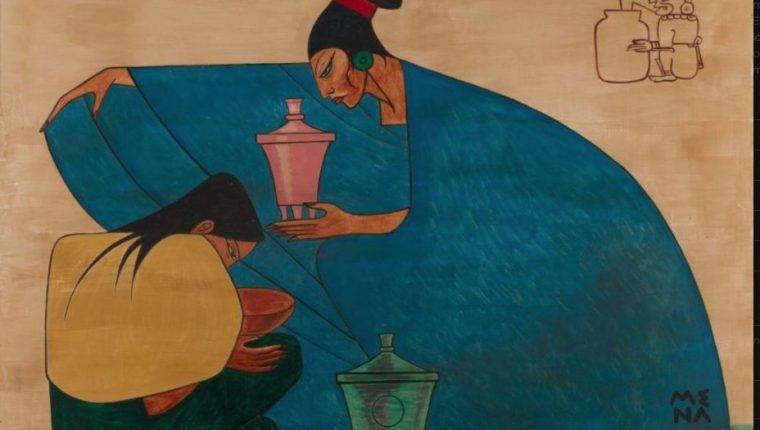 Réplica a escala del mural que Grajeda Mena hizo en 1975 y actualmente se encuentra en el Museo Regional de Arqueología Rubén Chévez Van Dorne.    Parte de la información en el portal  digital dedicado al artista en la Universidad Francisco Marroquín. (Foto Prensa Libre: grajedamena.ufm.edu)