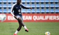 France's defender Ferland Mendy plays the ball as he takes part in a training session at the National stadium in Andorra La Vella, on June 10, 2019 on the eve of the UEFA Euro 2020 qualification football match between Andorra and France. (Photo by FRANCK FIFE / AFP)