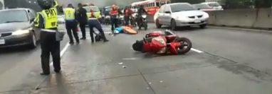 El ingreso a la capital desde el Sur está congestionado por el accidente. (Foto Prensa Libre: Dalia Santos)