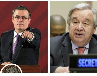 El canciller mexicano Marcelo Ebrard y el Secretario General de la ONU, Antonio Guterres, comenzarán la implementación del  Plan de Desarrollo Integral en Tapachula, Chiapas, México (Foto Prensa Libre: Hemeroteca PL)