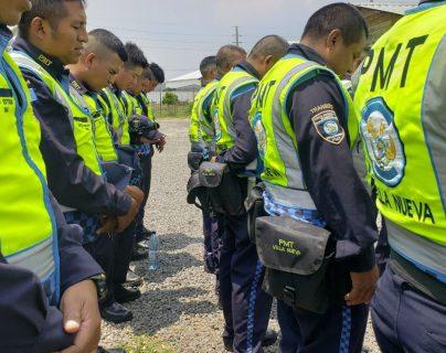 Imagen de referencia de los agentes de PMT de Villa Nueva. (Foto Prensa Libre: Dalia Santos)