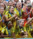 Las jugadoras de la selección de Suecia celebran después de ganar el tercer lugar del mundial Francia 2019. (Foto Prensa Libre: AFP)