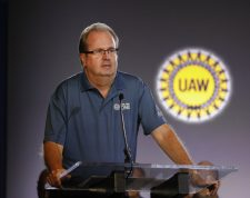DETROIT, MI - JULY 16: United Auto Workers President Gary Jones speaks at the opening of open the 2019 GM-UAW contract talks where the traditional ceremonial handshake takes place on July 16, 2019 in Detroit, Michigan. With its increasing investment in electric vehicles, General Motors is faced with the challenge of transitioning its employees to work with new technologies.   Bill Pugliano/Getty Images/AFP == FOR NEWSPAPERS, INTERNET, TELCOS & TELEVISION USE ONLY ==