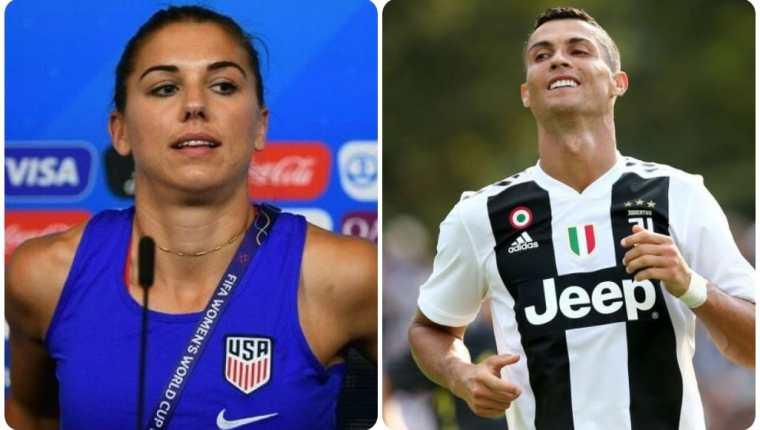 Alex Morgan y Cristiano Ronaldo. (Fotos: AFP y BBC News Mundo).