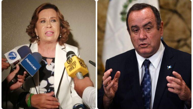 Sandra Torres y Alejandro Giammattei. (Fotos María René y AFP).
