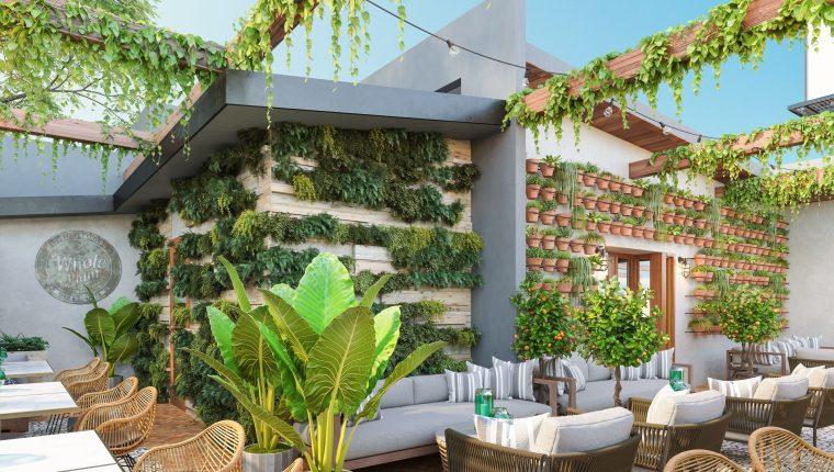 El patio de Lowell Cafe, en el que sus clientes podrán degustar diferentes productos hechos a base de cannabis. (Foto Prensa Libre: EFE)