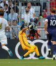 Harry Kane anota el gol del triunfo del Tottenham frente al Real Madrid. (Foto Prensa Libre: EFE)