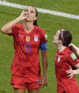 Este es el polémico festejo de Alex Morgan, jugadora de Estados Unidos. (Foto Prensa Libre: AFP)