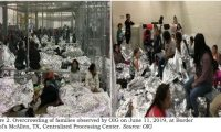 """CORRECTION - This image released in a report on July 02, 2019 by the US Department of Homeland Security (DHS) Inspector General Office (OIG) shows migrant families overcrowding a Border Patrol facility on June 11, 2019 in McAllen, texas. - The report by the DHS inspector general said the health and security of both migrants and US Customs and Border Protection (CBP) officials is under threat """"We are concerned that overcrowding and prolonged detention represent an immediate risk to the health and safety of DHS agents and officers, and to those detained. """" (Photo by - / DHS/ Office of the Inspector General / AFP) / RESTRICTED TO EDITORIAL USE - MANDATORY CREDIT """"AFP PHOTO / DHS Inspector General Office"""" - NO MARKETING - NO ADVERTISING CAMPAIGNS - DISTRIBUTED AS A SERVICE TO CLIENTS / """"The erroneous mention[s] appearing in the metadata of this photo has been modified in AFP systems in the following manner: byline by [DHS / Office of the Inspector General] instead of [Eric BARADAT] . Please immediately remove the erroneous mention[s] from all your online services and delete it (them) from your servers. If you have been authorized by AFP to distribute it (them) to third parties, please ensure that the same actions are carried out by them. Failure to promptly comply with these instructions will entail liability on your part for any continued or post notification usage. Therefore we thank you very much for all your attention and prompt action. We are sorry for the inconvenience this notification may cause and remain at your disposal for any further information you may require."""""""