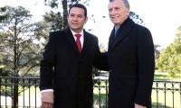 El presidente Jimmy Morales visitó a su homologo argentino, Mauricio Macri, el pasado 3 de julio de 2019. (Foto Prensa Libre: Hemeroteca)