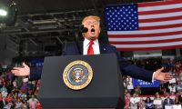 "US President Donald Trump speaks at a ""Make America Great Again"" rally at Minges Coliseum in Greenville, North Carolina, on July 17, 2019. (Photo by Nicholas Kamm / AFP)"