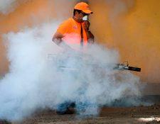 Para reducir los contagios, las autoridades recomiendan fumigar los puntos de concentración de mosquitos. ( Foto Prensa Libre AFP)