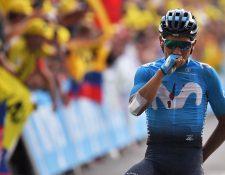 El ciclista colombiano Nairo Quintana mostró su poderío en la alta montaña en Los Alpes. (Foto Prensa Libre: AFP)