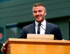 David Beckham en el 2018 anunciaba los detalles del nuevo equipo de la MLS. (Foto Prensa Libre: AFP)