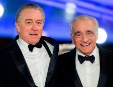 El actor estadounidense Robert De Niro y el director de cine estadounidense Martin Scorsese, en el festival internacional de cine de Marrakech en diciembre de 2018.  (Foto Prensa Libre: AFP)