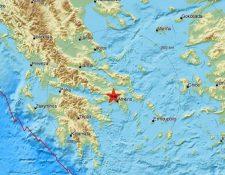 Ubicación del epicentro del temblor registrado este viernes en Atenas, Grecia. (Foto Prensa Libre: Centro Sismológico Euromediterráneo)