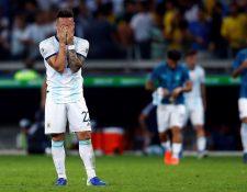 Lautaro Martínez de Argentina al final del partido Brasil-Argentina de semifinales de la Copa América de Fútbol 2019, en el Estadio Mineirão de Belo Horizonte, Brasil. (Foto Prensa Libre: EFE)