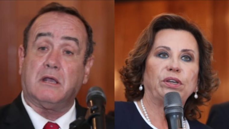 Los candidatos a la presidencia del país, Sandra Torres de la UNE y Alejandro Giammattei del partido Vamos. (Foto Prensa Libre: Esbin García)