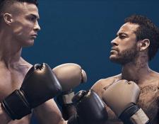 Cristiano Ronaldo y Neymar en una de las fotografía de la campaña publicitaria de una compañía de telecomunicaciones. (Foto Prensa Libre: MEO)