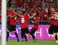 Así festejaron los jugadores del Manchester United frente al Inter. (Foto Prensa Libre: Twitter @ManUtd_Es)