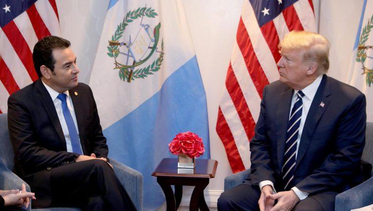 Jimmy Morales en reunión con el presidente de EE. UU., Donald Trump. (Foto  Prensa Libre: Gobierno de Guatemala)