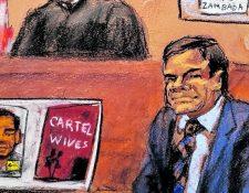 """Dibujo realizado por la artista Jane Rosenberg donde aparece en juicio el narcotraficante mexicano Joaquín """"El Chapo"""" Guzmán."""