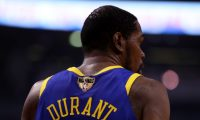 TORONTO, ONTARIO - JUNE 10: Kevin Durant #35 of the Golden State Warriors looks on against the Toronto Raptors in the first half during Game Five of the 2019 NBA Finals at Scotiabank Arena on June 10, 2019 in Toronto, Canada. NOTE TO USER: User expressly acknowledges and agrees that, by downloading and or using this photograph, User is consenting to the terms and conditions of the Getty Images License Agreement.   Gregory Shamus/Getty Images/AFP == FOR NEWSPAPERS, INTERNET, TELCOS & TELEVISION USE ONLY ==