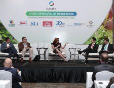Los candidatos a la vicepresidencia Guillermo Castillo Reyes, de Vamos y Carlos Raúl Morales, de la UNE, exponen sus planes de facilitación de comercio con México, durante el II Foro de Agronegocios que organizó Camex. (Foto Prensa Libre: Juan Diego González)