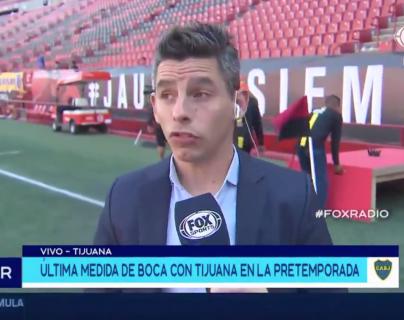 El reportero Juan Fernández se inventó una respuesta al desconocer la información, esto en la previa del amistoso Xolos vs Boca  Juniors. (Foto Prensa Libre: Tomado del twitter de @FOXSportsArg)