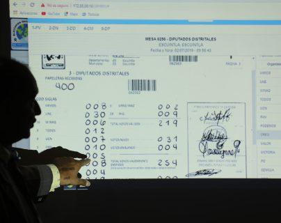 Fiscales de partidos políticos y el Tribunal Supremo Electoral revisan las actas que presentaron presuntas anomalías. (Foto Prensa Libre: Hemeroteca PL)