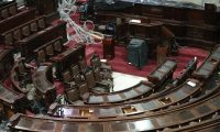 Hemiciclo del congreso es remodelado de los curules y el tablero electr—nico  trabajadores instalan cable para marcar en el tablero electr—nico .        Fotograf'a Esbin Garc'a  02-07-2019
