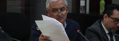El expresidente Otto Pérez Molina durante una audiencia en julio de 2019, cuando también pidió una medida sustitutiva. (Foto Prensa Libre: Hemeroteca PL)