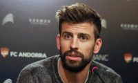 (FILES) In this file photo taken on April 12, 2019 Barcelona Spanish defender and Kosmos investment company president Gerard Pique gives a press conference in Andorra La Vella following the acquisition the FC Andorra by the Spanish defender. - Barcelona's Gerard Pique will be forced to pay 2.1 million euros ($2.36 million) to Spain's tax authorities after his conviction for rights-image fraud was confirmed, a legal source told AFP on July 10, 2019. (Photo by RAYMOND ROIG / AFP)