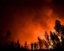 Firefighters monitor the progression of a wildfire at Amendoa in Macao, central Portugal on July 21, 2019. - More than a thousand firefighters battled to control wildfires in central Portugal that have forced village evacuations, in a region where dozens were killed in huge blazes in 2017. The firefighters were deployed to tackle three fires in the mountainous and heavily forested Castelo Branco region, 200 kilometres north of Lisbon, according to the website of the Civil Protection. (Photo by PATRICIA DE MELO MOREIRA / AFP)