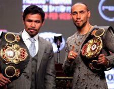 El veterano boxeador Manny Pacquiao peleará este sábado contra Keith Thurman (Foto Prensa Libre: AFP)