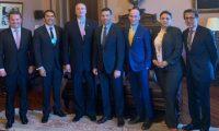 Ministros guatemaltecos durante la reunión con funcionarios estadounidenses. (Foto Prensa Libre: Gobierno de Guatemala).
