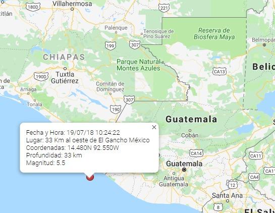Mapa muestra el epicentro del sismo registrado este 18 de julio. (Foto Prensa Libre).
