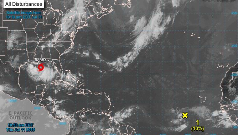 Trayectoria de la tormenta tropical Barry. (Foto Prensa Libre: @insivumehgt).