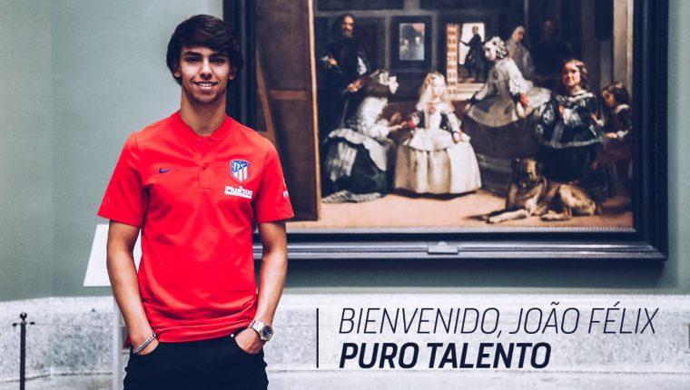 El atacante portugués Joao Félix, fichado por el Atlético de Madrid por 126 millones de euros. (Foto Atlético de Madrid).