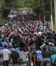 Las caravanas que salieron de Honduras en 2018 y la crisis en la frontera sur de Estados Unidos con México volcaron a la administración de Trump a emprender acciones para cerrar el paso a indocumentados. (Foto Prensa Libre: Hemeroteca PL)