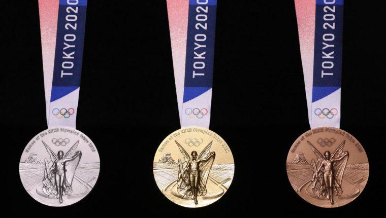 Estas son las medallas presentadas por la organización de los Juegos Olímpicos de Tokyo 2020. (Foto Prensa Libre: Juegos Olimpicos)