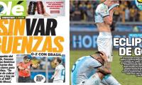 Varios medios de comunicación de Argentina señalaron la mala actuación del árbitro ecuatoriano Roddy Zambrano (Foto Prensa Libre: elaboración propia)