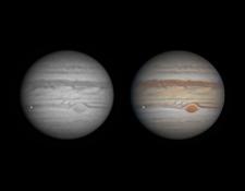 Este el momento de la captura del impacto en Júpiter. El punto brillante a la izquierda del planeta (Foto: Ethan Chappel @ChappelAstro) TWITTER @CHAPPELASTRO